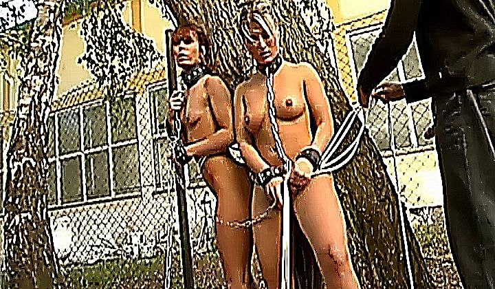 1080p - Two Naked German Sex Slaves Sucking Cock Outdoors
